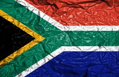 South Africa vintage flag on old crumpled paper background royalty free stock images