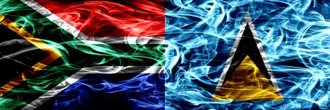 South Africa vs Saint Lucia smoke flags placed side by side. Concept and idea flags mix. South Africa vs Saint Lucia smoke flags placed side by side. Concept royalty free illustration