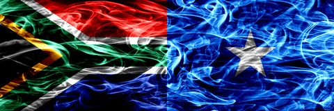 South Africa vs Somalia, Somalian smoke flags placed side by side. Concept and idea flags mix. South Africa vs Somalia, Somalian smoke flags placed side by side vector illustration