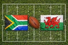 South Africa vs. Wales flags on rugby field Stock Images