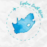 South Africa watercolor map in turquoise colors. Explore South Africa poster with airplane trace and handpainted watercolor South Africa map on crumpled paper Royalty Free Stock Image
