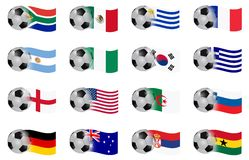 South africa word cup group A to D flags. South africa word cup group A to D   flag ball illustration Royalty Free Stock Photography