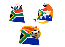 South Africa World Cup action. Different set of figures for World Cup 2010 football action in South Africa constituting a national flag of South Africa Stock Images