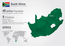 South Africa world map with a pixel diamond texture. Royalty Free Stock Image