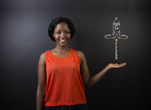 South African or African American woman teacher or student achieve success in education Stock Image