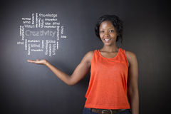 South African or African American woman teacher or student against blackboard background creativity diagram Stock Photo