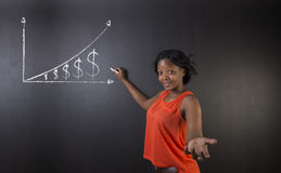 South African or African American woman teacher or student against blackboard background money graph. South African or African American woman teacher or student Stock Photo