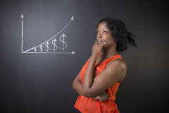 South African or African American woman teacher or student against blackboard chalk money graph. South African or African American woman teacher or student Stock Images