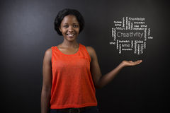 South African or African American woman teacher or student against blackboard creativity diagram Stock Photo