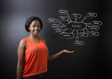 South African or African American woman teacher or student against blackboard survey diagram concept Stock Images
