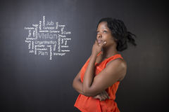 South African or African American woman teacher or student against blackboard vision diagram Stock Photos