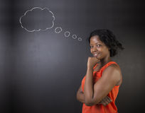 South African or African American woman teacher or student thinking cloud Royalty Free Stock Image