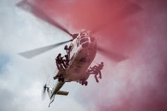 South African Air Force Oryx with pink smoke Stock Photo