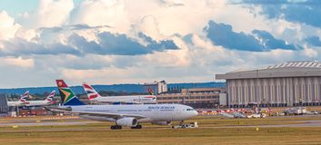 South African Airlines. LONDON, UK - October 1, 2016: Heathrow Airport is the second busiest airport in the world by international passenger traffic, as well as stock image
