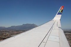 South African Airlines and Table Mountain Royalty Free Stock Photos