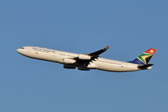 South African Airways Airbus A340 Taking Off. South African Airways A340 taking off from Washington Dulles International Airport Royalty Free Stock Images