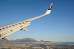 South African Airways aircraft in Cape Town. A South African Airways aircraft approaching Cape Town International airport royalty free stock image