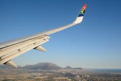 South African Airways samolot w Kapsztad obraz royalty free