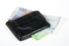 South African Bank Notes Enclosed by Leather Wallet Stock Image