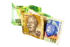 South African Banknotes in Colors of Green, Brown  Stock Photography