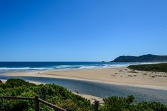 South Africa Beach. Sedgefield Lagoon on the Garden Route of South Africa offers idyllic natural scenery and wildlife. The Sedgefield lagoon opens to the Indian Stock Image