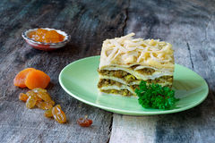 South African bobotie dish layered with pancakes Stock Photography