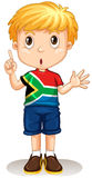 South African boy pointing his finger. Illustration Royalty Free Stock Images