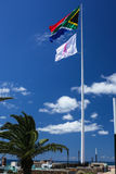 South African and breast cancer awareness flags Stock Photography