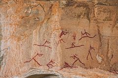 South African Bushman Rock Art. Bushman Rock Art in the `War Cave` near Injisuthi in the Drakensberg South Africa Stock Images