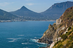 The South African Coast. The rugged coast and brilliant waters of the Atlantic near Capetown, South Africa Royalty Free Stock Images