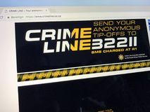 South African crimestoppers website Crime Line. Amsterdam, the Netherlands - June 18, 2018: South African crimestoppers website Crime Line. The crime stopper royalty free stock photo