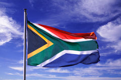 South african flag. Blue sky country stock photos