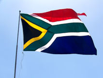 South African Flag. The South African Flag in the Wind Royalty Free Stock Images
