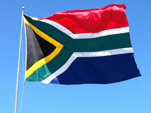 The South African Flag. In the wind stock photography