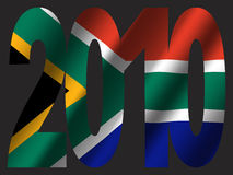 South African flag and 2010. 2010 text with South African flag host nations of world cup Stock Photos