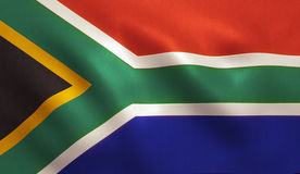 South African Flag. South Africa flag background with fabric texture Stock Photos