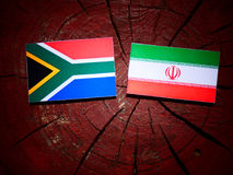 South African flag with Iranian flag on a tree stump isolated. South African flag with Iranian flag on a tree stump royalty free stock photo