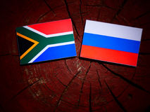 South African flag with Russian flag on a tree stump royalty free stock photo