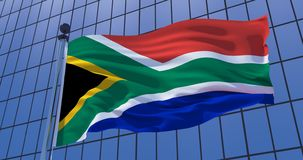 South Africa flag on skyscraper building background. 3d illustration. South African flag on skyscraper building background. Pretoria, Capetown. 3d illustration royalty free stock photos