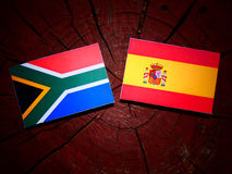 South African flag with Spanish flag on a tree stump royalty free stock photos