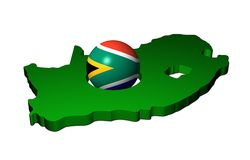 South African flag sphere with map Royalty Free Stock Image
