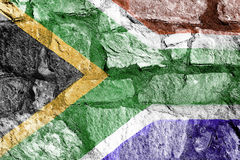 South African flag on a stone wall Royalty Free Stock Photos