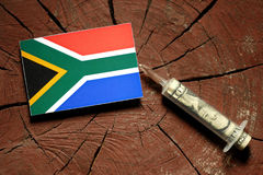 South African flag on a stump with syringe injecting money. In flag stock photo