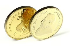 South African gold bullion coins. South African 1 ounce gold bullion coins  on white background Stock Photography