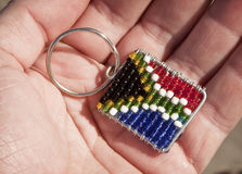 South African Keyring. A South African flag keyring made using traditional beads and wire technique Stock Photos