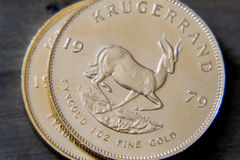 South African Krugerrand 1oz Fine Gold. 1 Oz Gold Bullion Coins Royalty Free Stock Photos