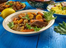 South African Mild lamb curry potjie Lamb curry. Mild lamb curry potjie Lamb curry, South African cuisine , Traditional assorted dishes, Top view Stock Photography