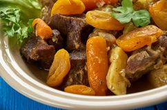 South African Mild lamb curry potjie Lamb curry. Mild lamb curry potjie Lamb curry, South African cuisine , Traditional assorted dishes, Top view Royalty Free Stock Photo