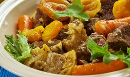 South African Mild lamb curry potjie Lamb curry. Mild lamb curry potjie Lamb curry, South African cuisine , Traditional assorted dishes, Top view Royalty Free Stock Photos