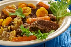 South African Mild lamb curry potjie Lamb curry. Mild lamb curry potjie Lamb curry, South African cuisine , Traditional assorted dishes, Top view Royalty Free Stock Image